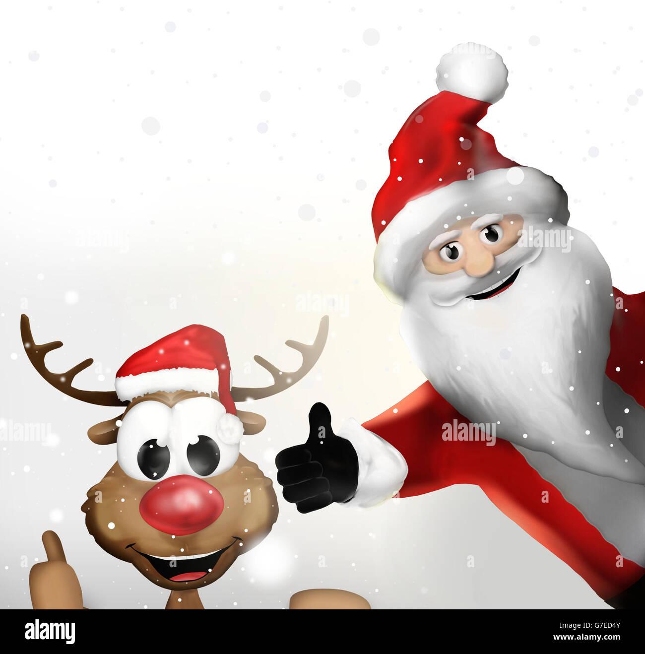 Weihnachten Weihnachtsmann und ein Rentier Daumen hoch Stockfoto ...