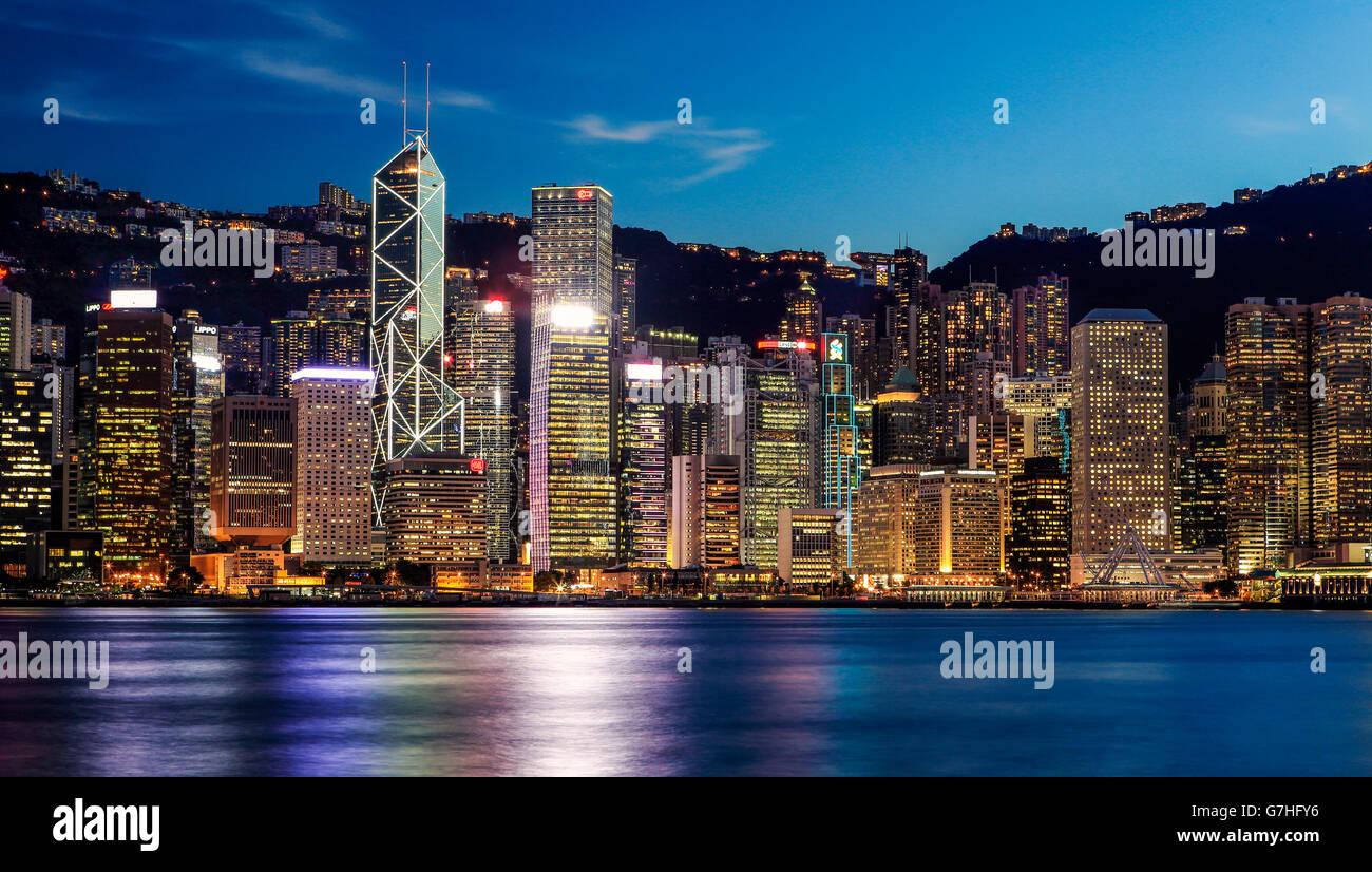 Die Hong Kong Skyline von Hong Kong, Tsim Sha Tsui. Stockfoto