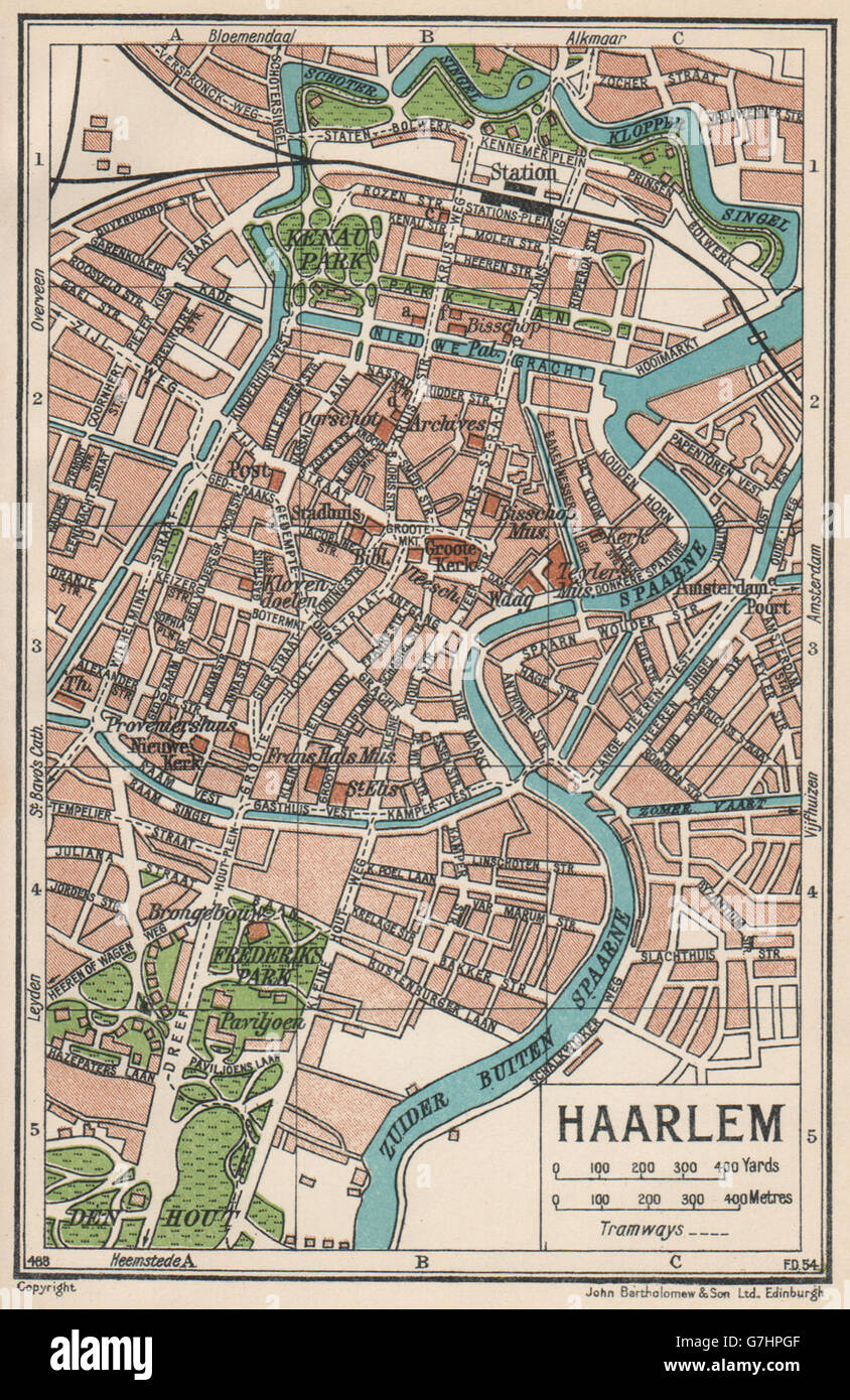 HAARLEM. Karte Stadtplan Vintage Stadt. Niederlande, 1933 Stockfoto ...