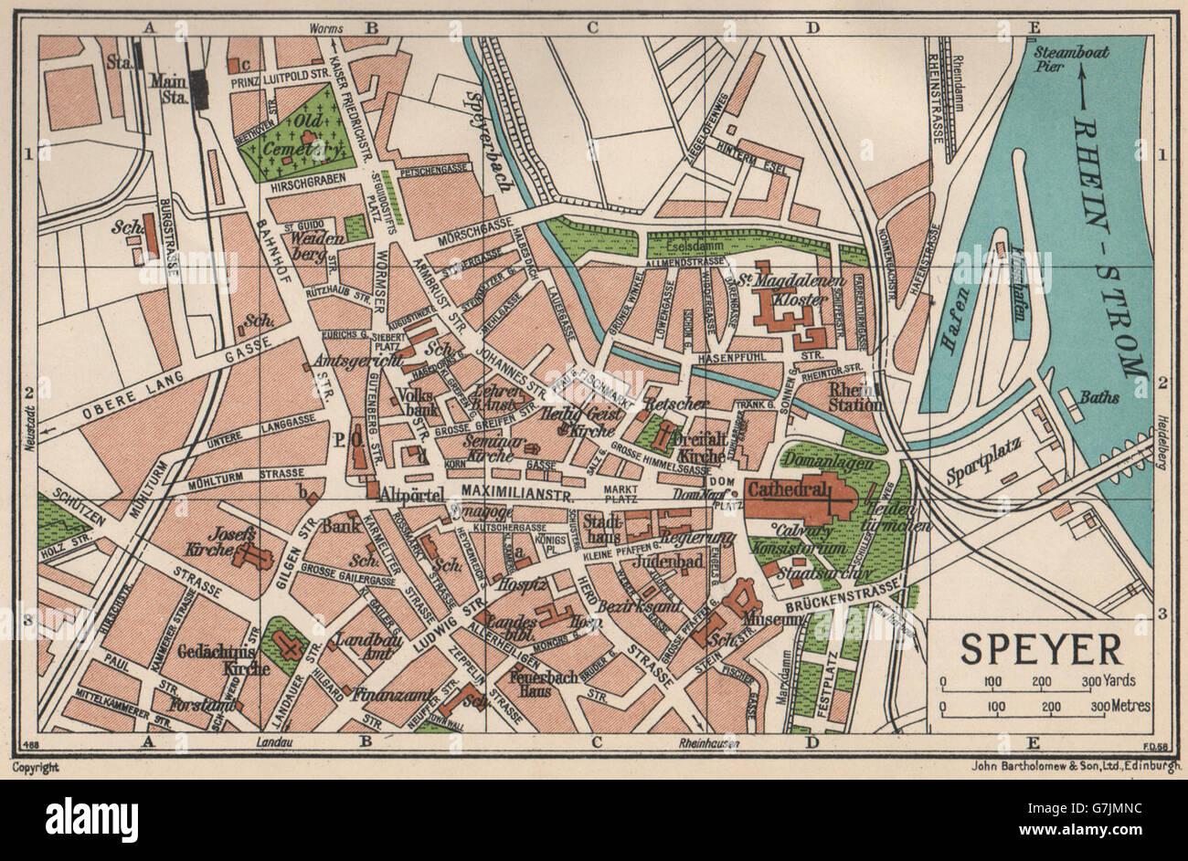 Speyer Karte Stadtplan Vintage Stadt Deutschland 1933 Stockfoto