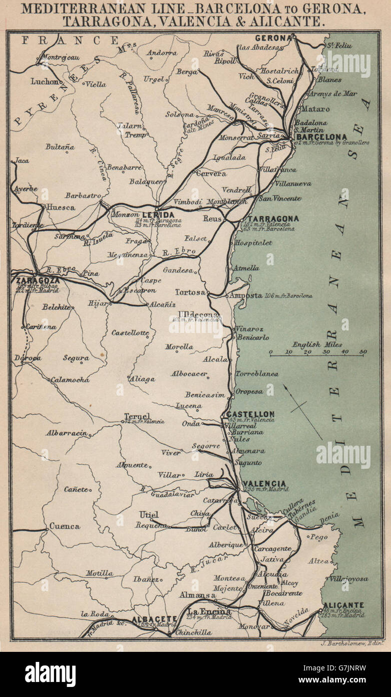 Karte Costa Brava Spanien.Spanien Mittelmeerkuste Karte Costa Blanca Del Azahar