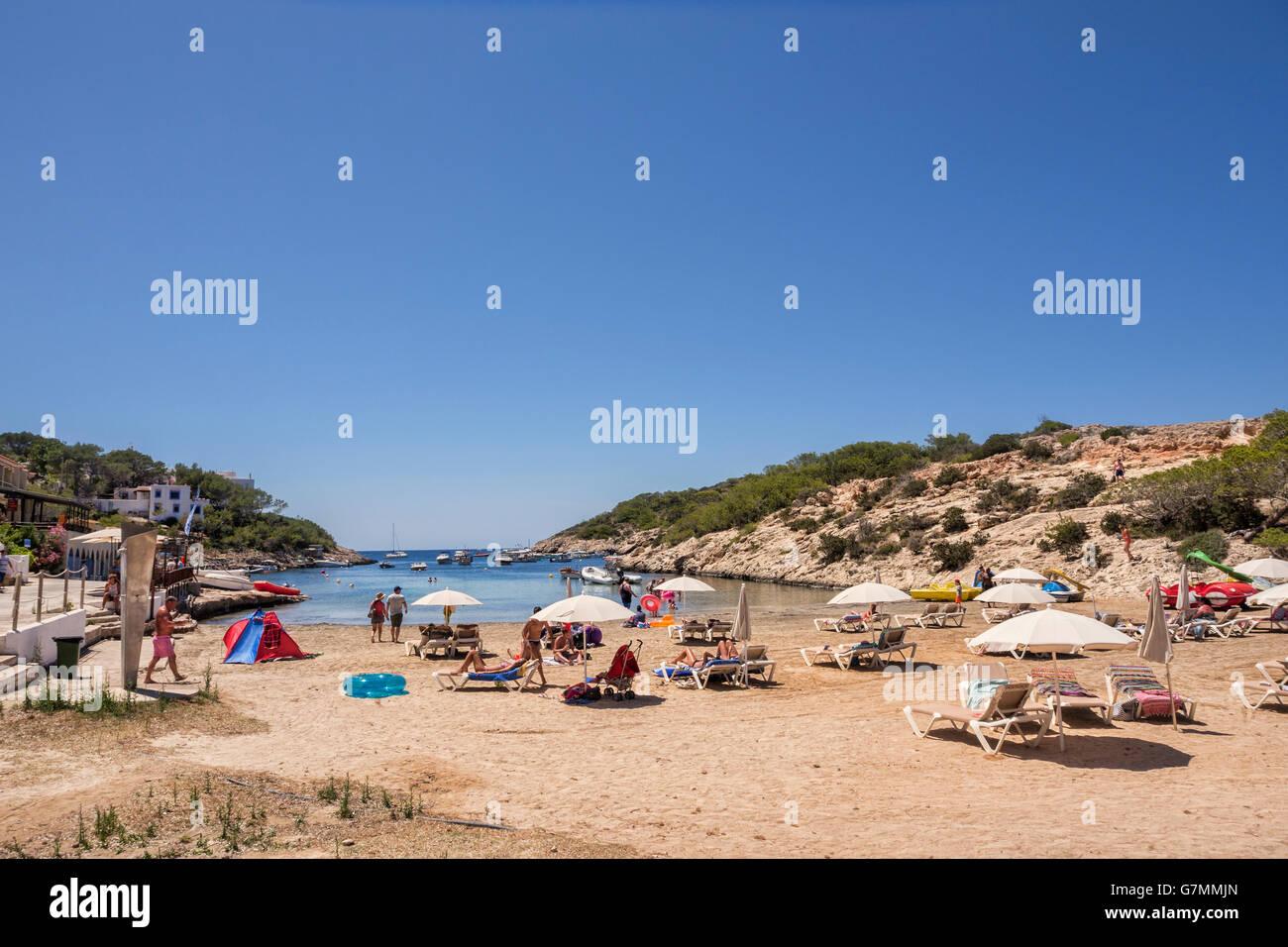Der Strand von Portinatx, Ibiza, Spanien. Stockbild