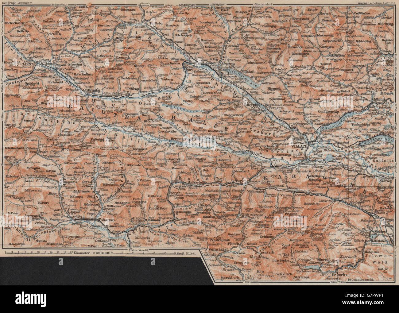 karte kärnten italien Kärntner Alpen Lienz Villach Triglav See Bled Österreich Italien