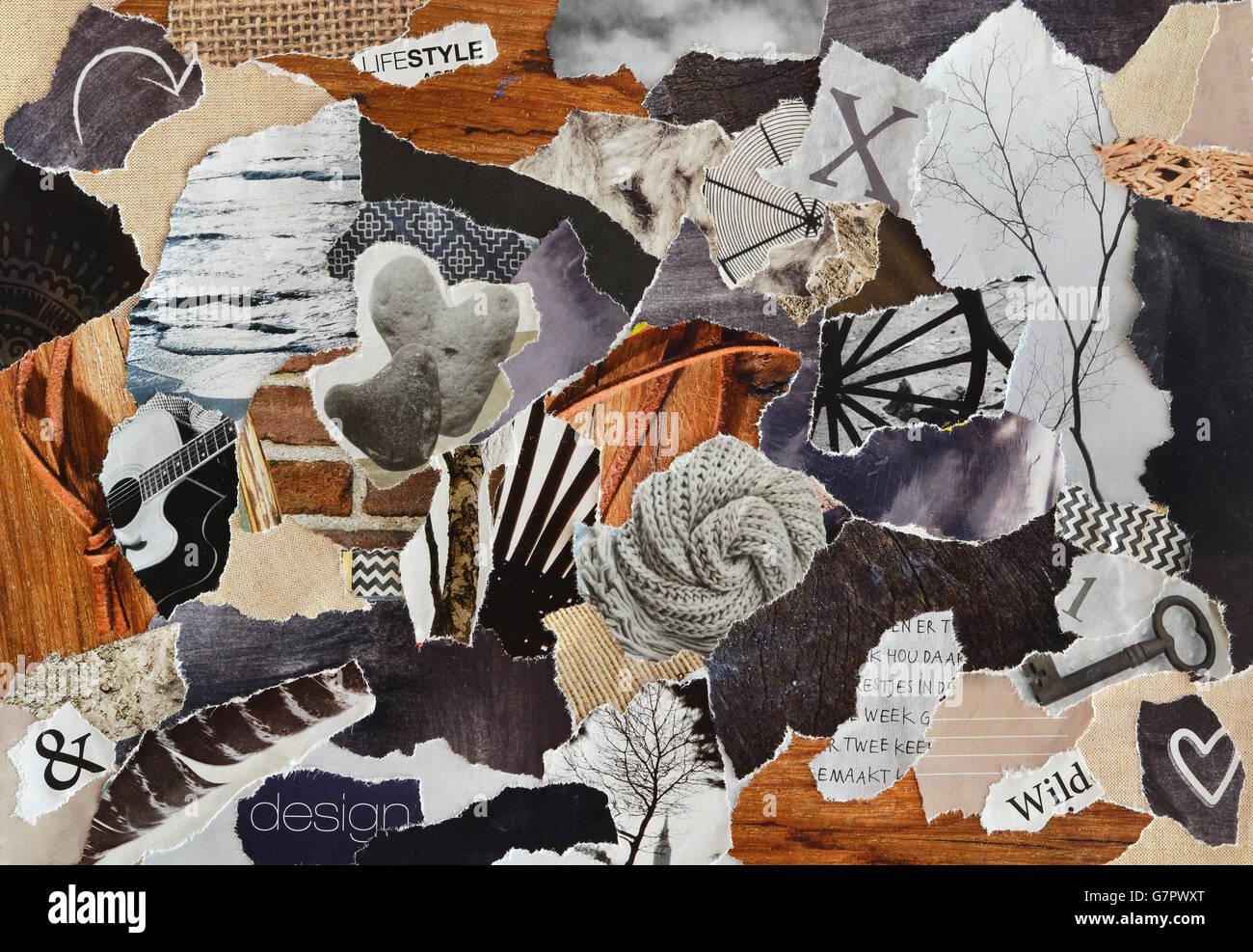 Kreative Atmosphare Kunst Stimmung Board Collage Blatt In Der Bunten Natur Gemacht Nylongefangnis Zeitschriften Und Drucksachen Papier Mit Zeichen Und Textur Stockfotografie Alamy