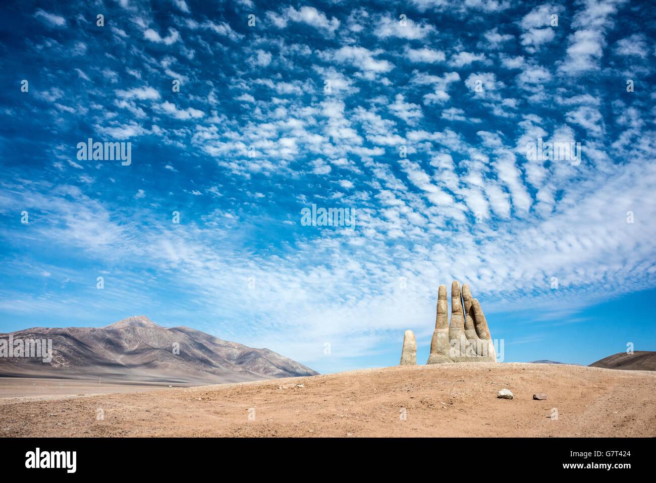 Hand Skulptur, das Symbol der Atacama-Wüste in Chile Stockbild