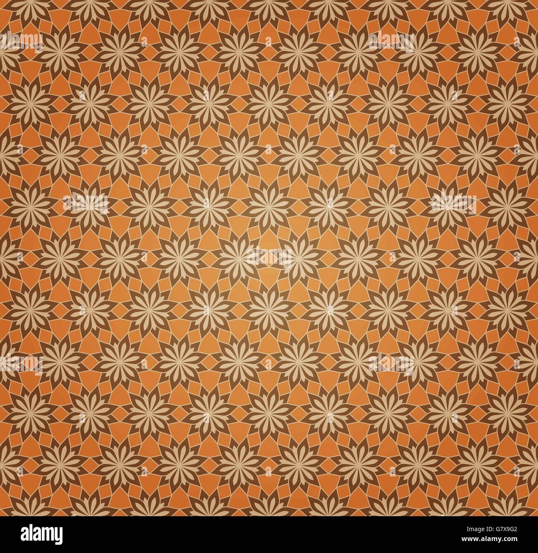 Vektor Hintergrund Orange nahtlose Blumenmuster Stockbild