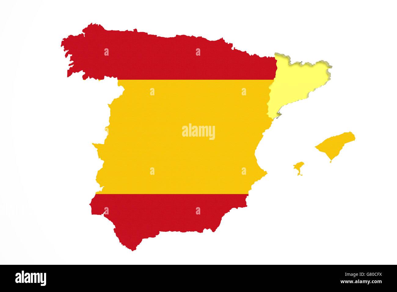 Spanien Katalonien Karte.3d Darstellung Der Karte Von Katalonien Mit Spanien Karte Und Flagge