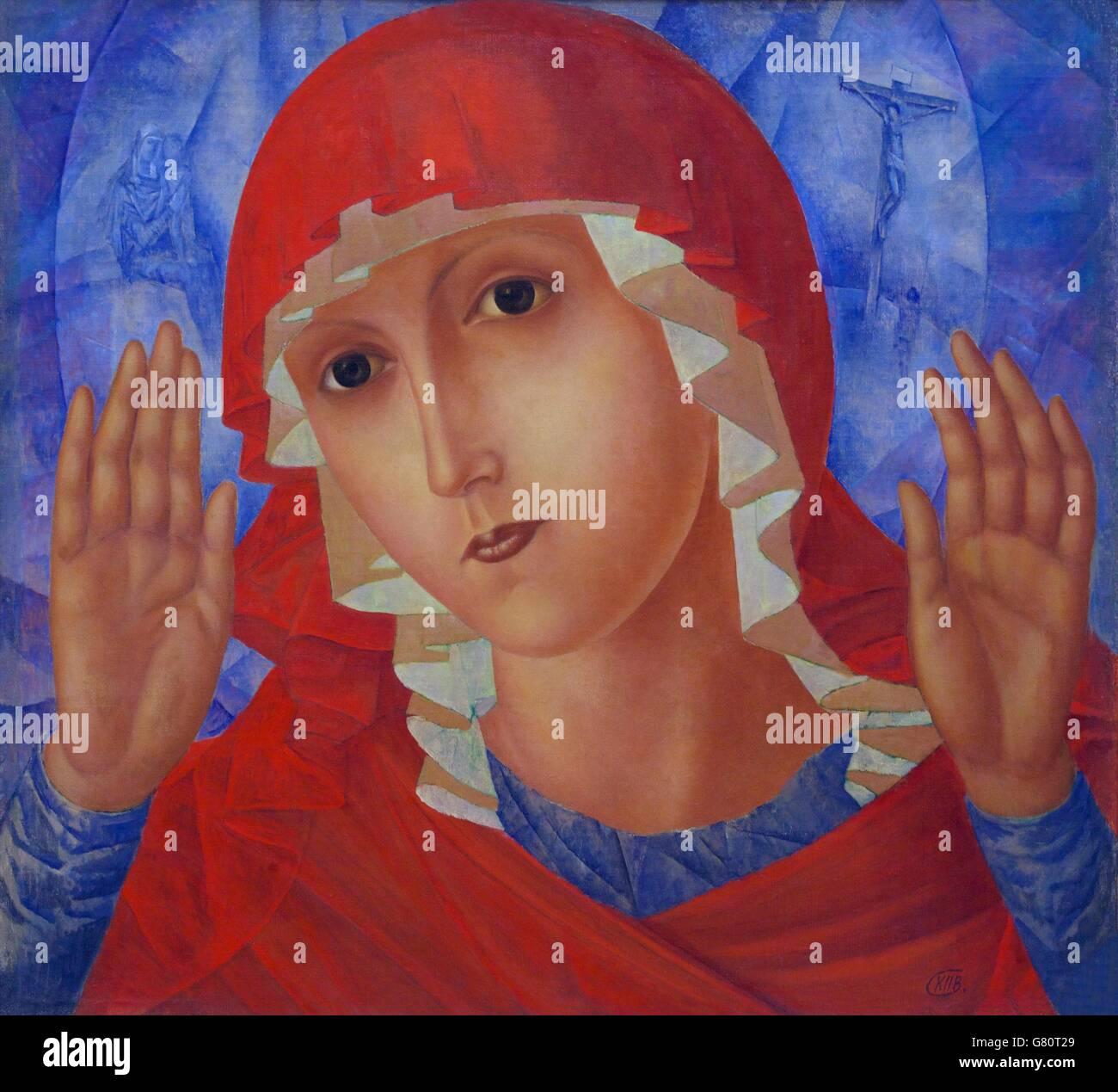 Mutter Gottes der Zärtlichkeit gegenüber dem bösen Herzen, durch kuzma Petrov - vodkin, 1914-1915, Stockbild