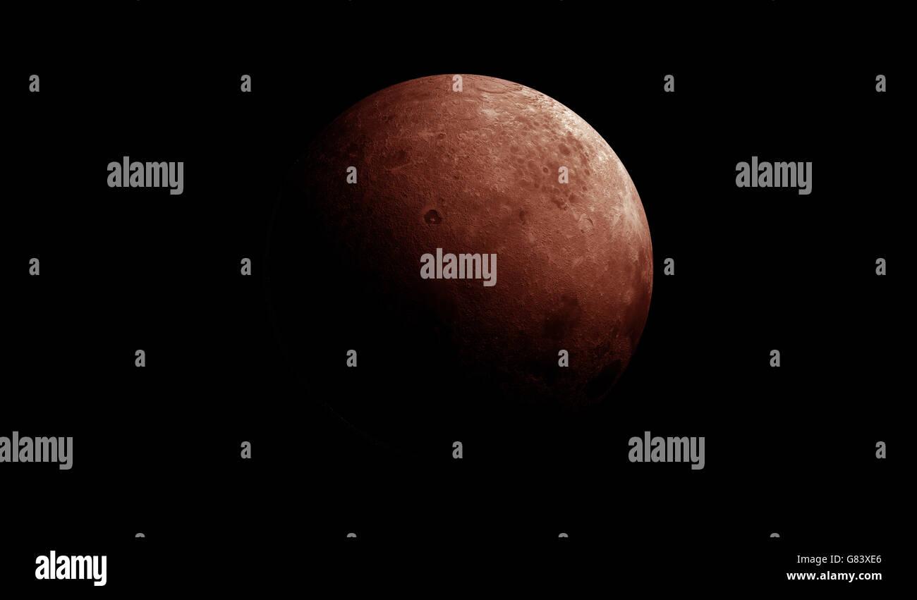 Roter Mond mit extrem detaillierte Oberfläche Stockbild