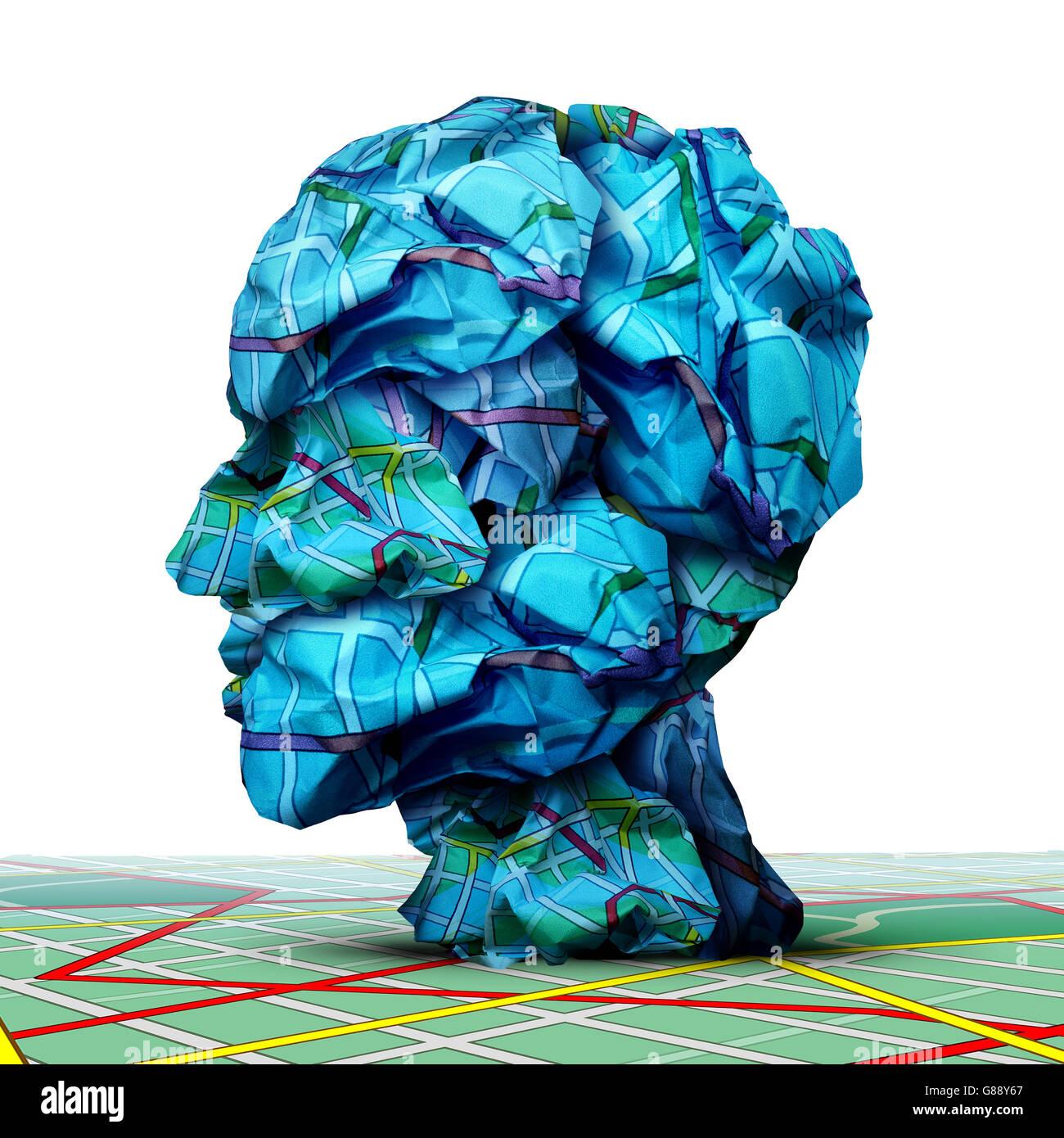 Menschlichen Fahrplan Konzept als eine Gruppe von zerknitterten Verkehrskarten, geformt wie ein Kopf als Geschäft Stockbild