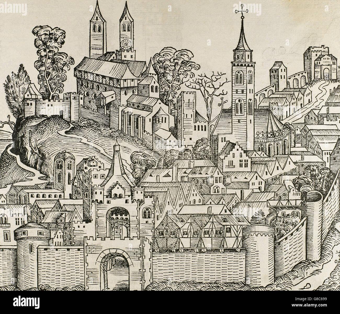 Italien. Perugia. Die Stadt im 16. Jahrhundert. Gravur. Stockbild