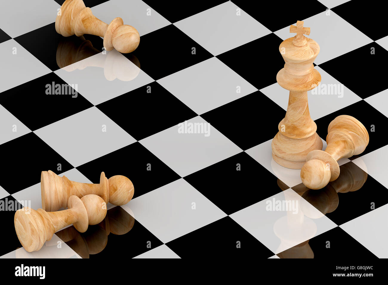 Leistung-Business-Konzept illustriert von Schach in 3D-Rendering. Stockbild