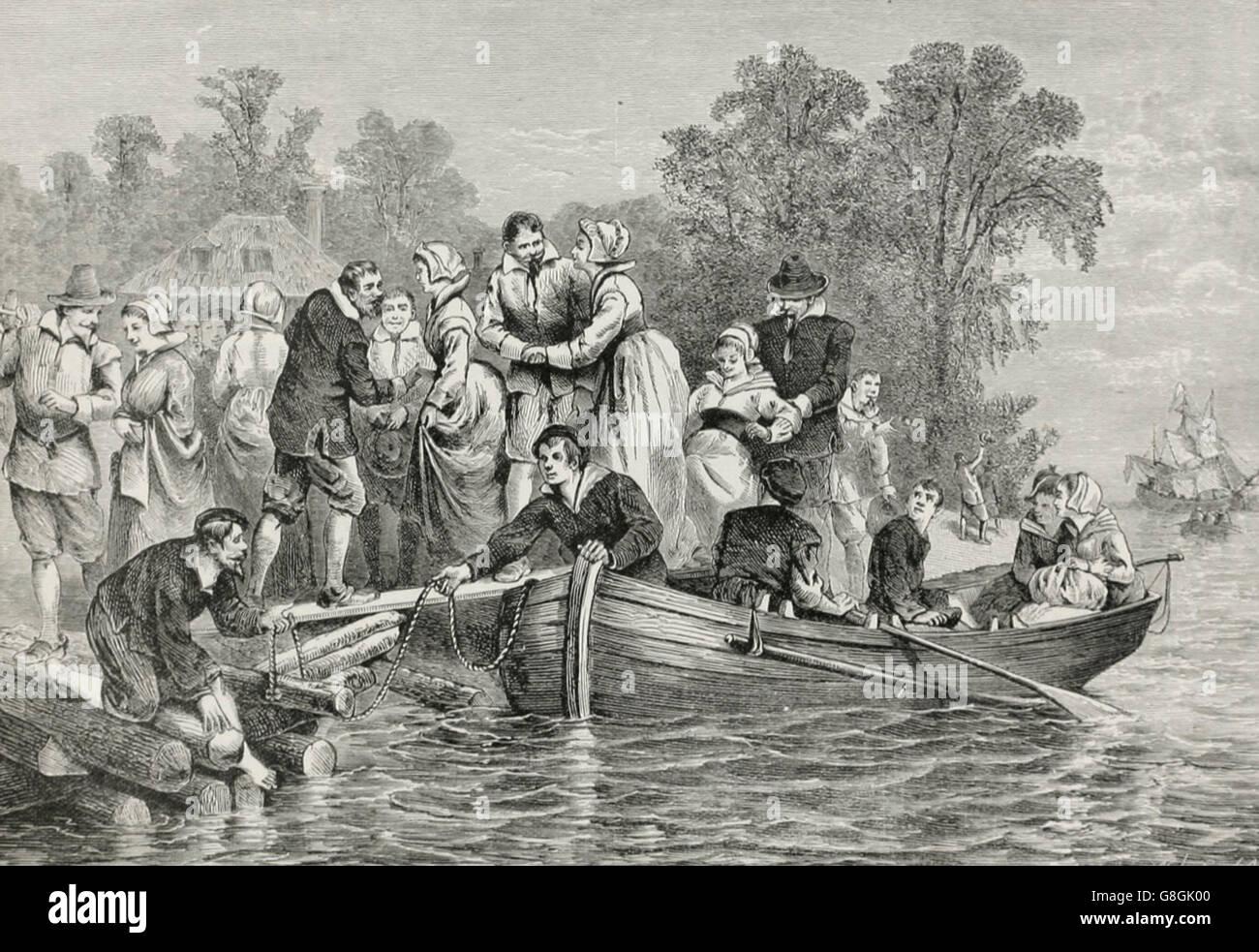 Einfuhr von Frauen für die Siedler Jamestown, ca. 1620 Stockbild