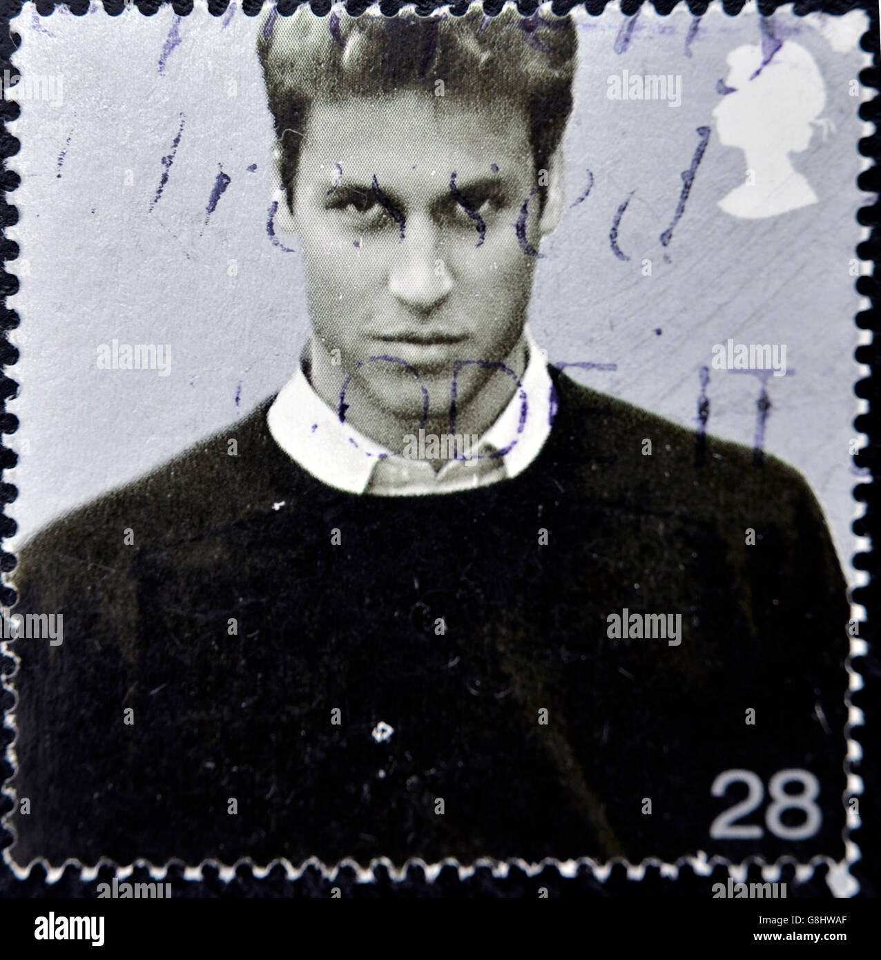 Vereinigtes Königreich - CIRCA 2003: Eine Briefmarke gedruckt in Großbritannien zeigt Prinz William von Wales, ca. 2003 Stockfoto