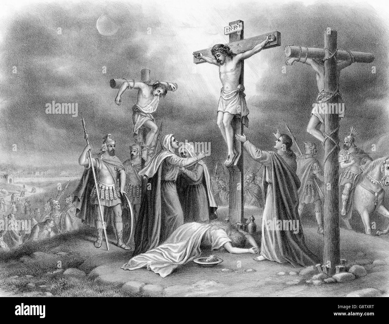 Die Kreuzigung Christi. Gravur von einem Gemälde von Louis Kurz, c.1907. Stockbild