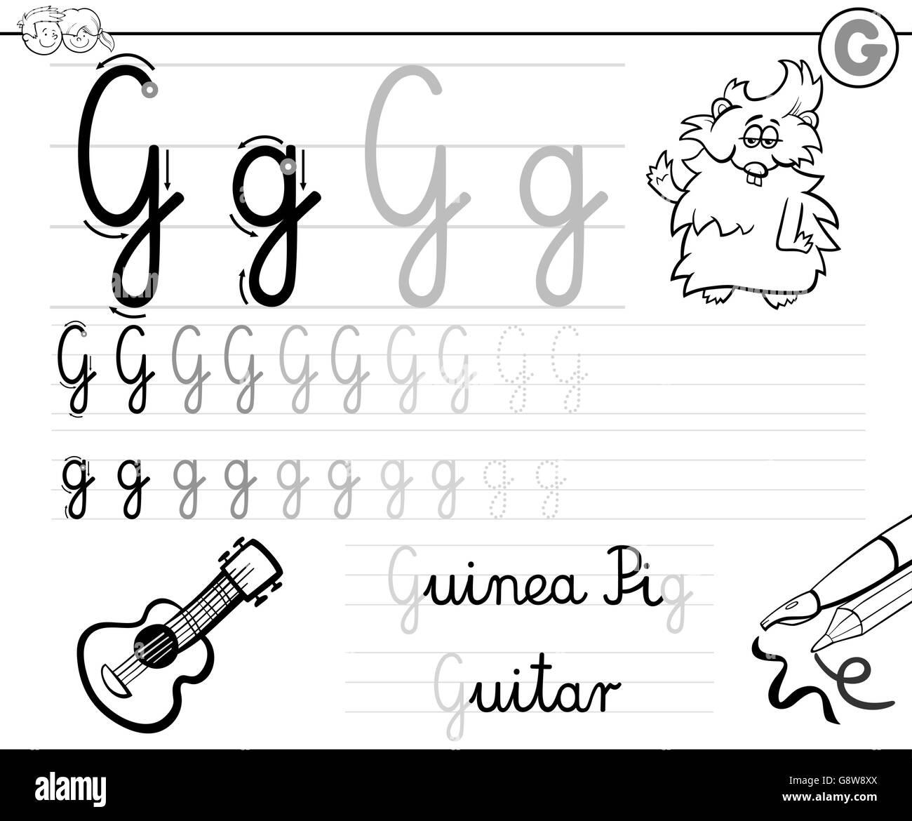 Cartoon Illustration Fähigkeiten Praxis mit Buchstaben G ...