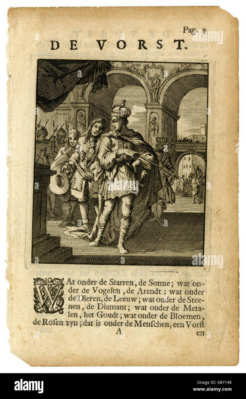 Antikes Buchseite mit Gravur, aus einer 1736 niederländische Ausgabe des Abraham a Sancta Clara Etwas Für Stockbild