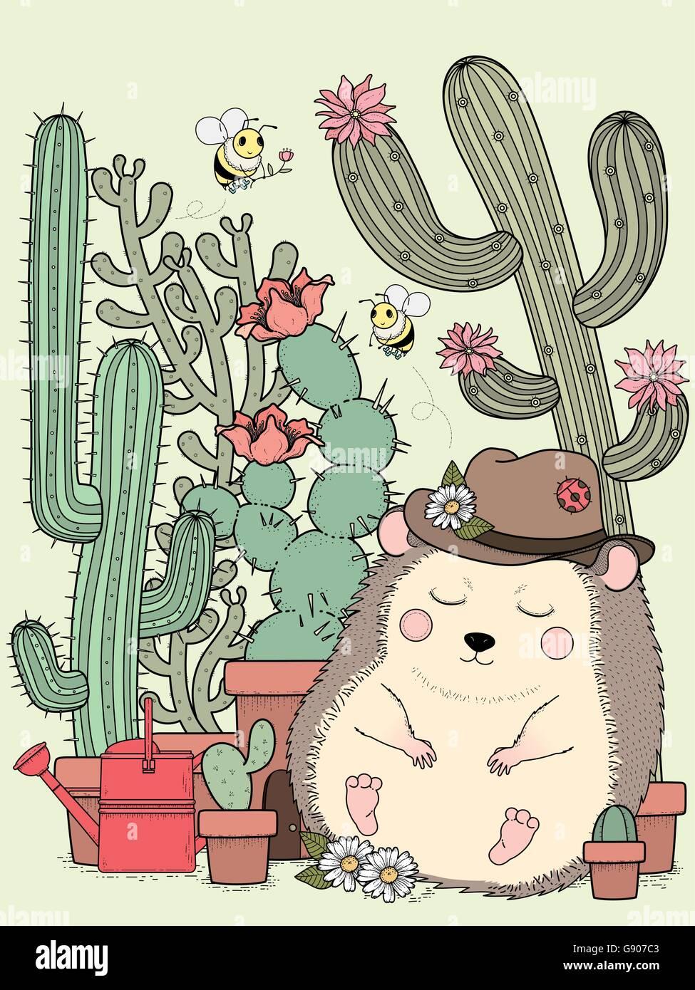 entzückende Igel mit Kaktus - Erwachsene Malvorlagen Stock Vektor