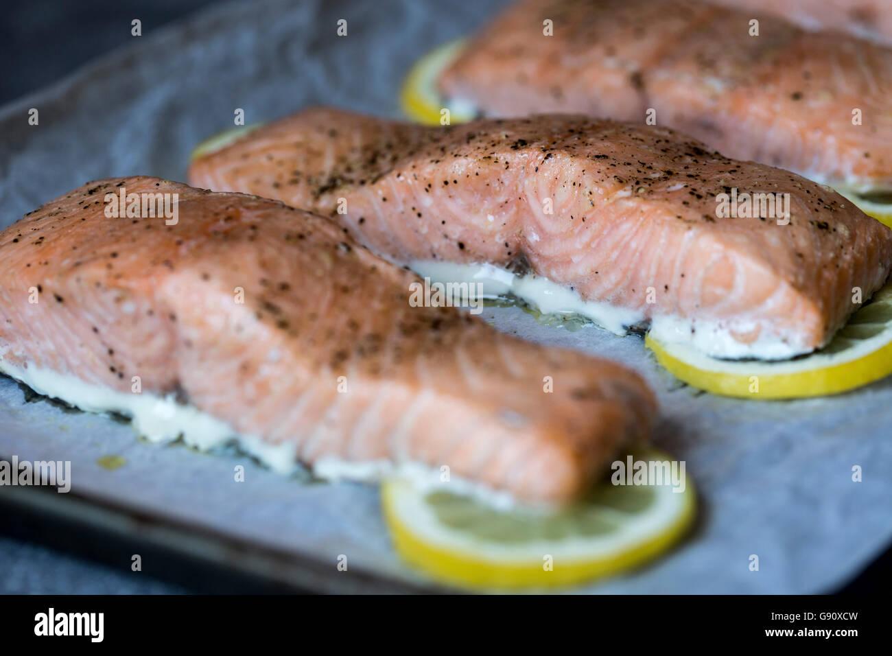 Langsam gebackene Lachsscheiben werden fotografiert, gleich nachdem sie aus dem Ofen kam. Stockfoto