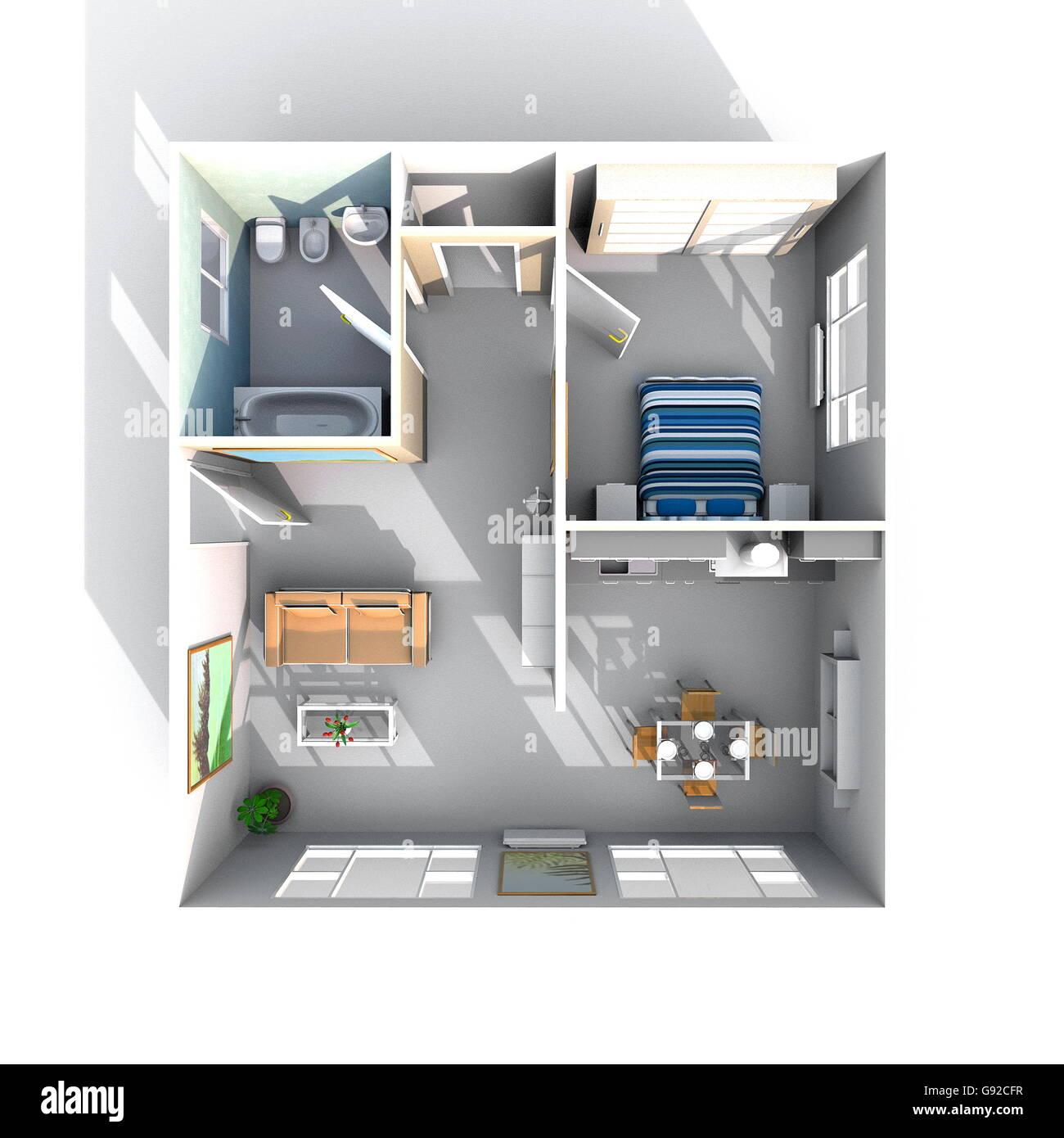 3d Interior Rendering Square Furnished Stockfotos & 3d Interior ...