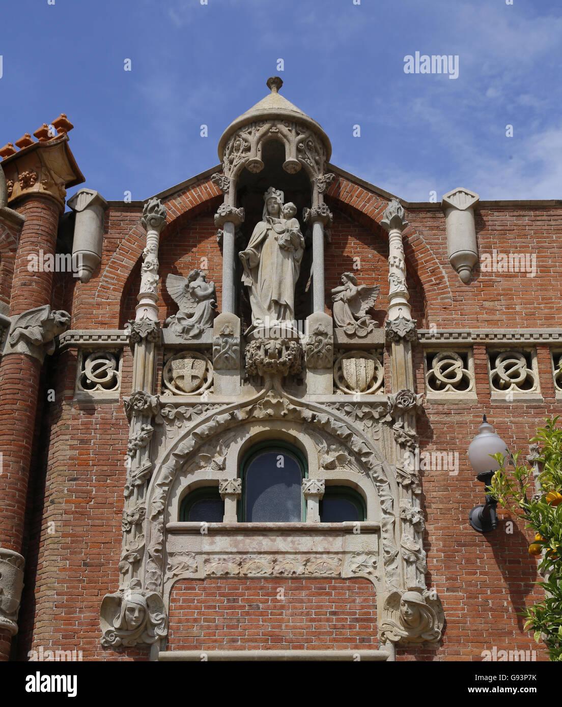 Krankenhaus des Heiligen Kreuzes und Saint Paul. 1901-1930 gebaut. Entworfen von modernistischen Architekten Lluis Stockbild