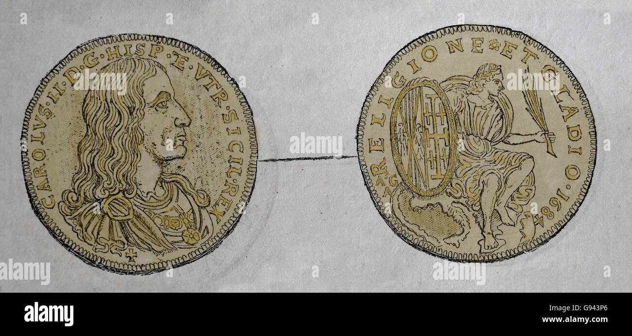 Karl Ii Von Spanien 1661 1700 Münze Kupferstich 19
