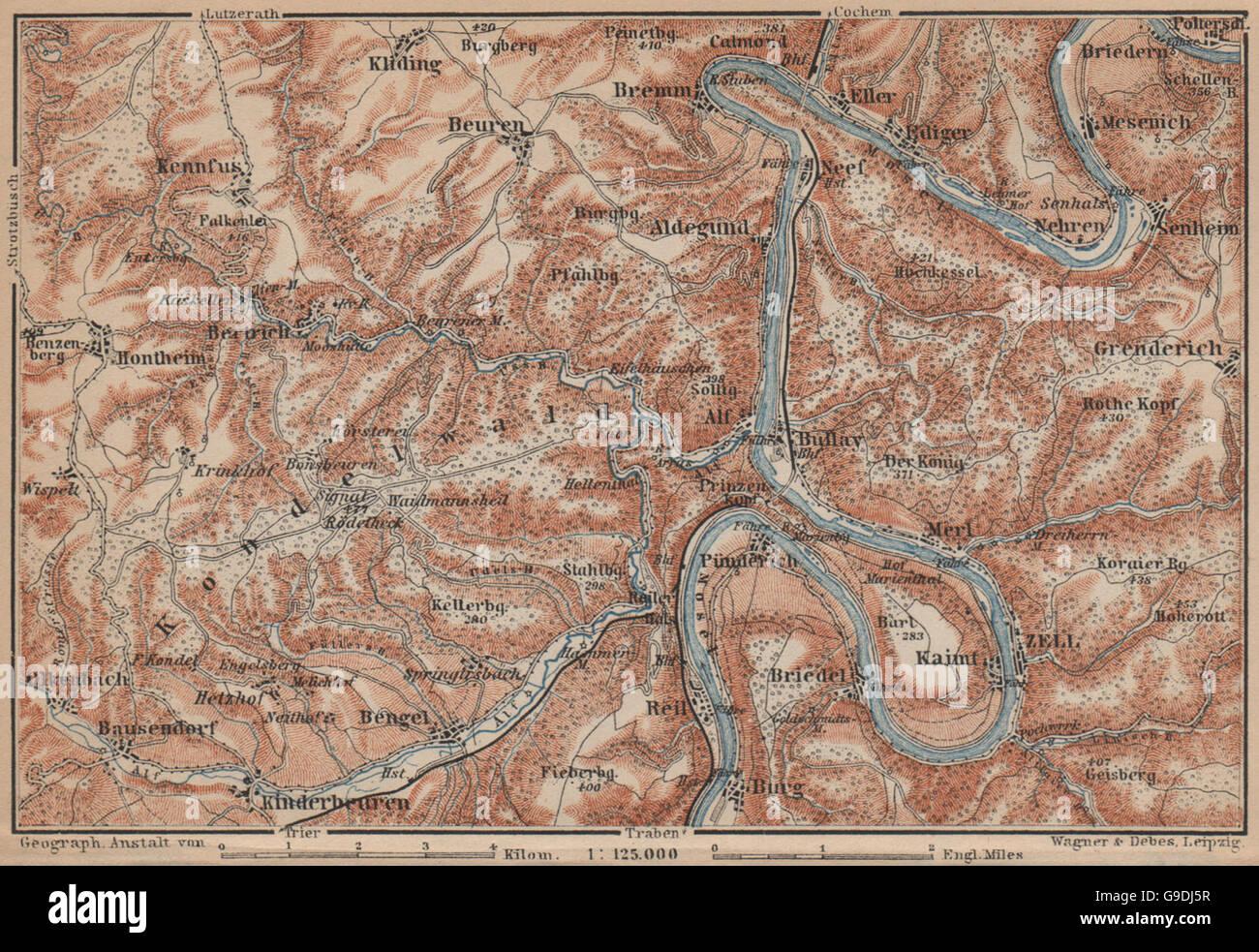 Karte Eifel.Mosel Zeller Hamm Alf Kondelwald Mosel Eifel Rheinland Pfalz
