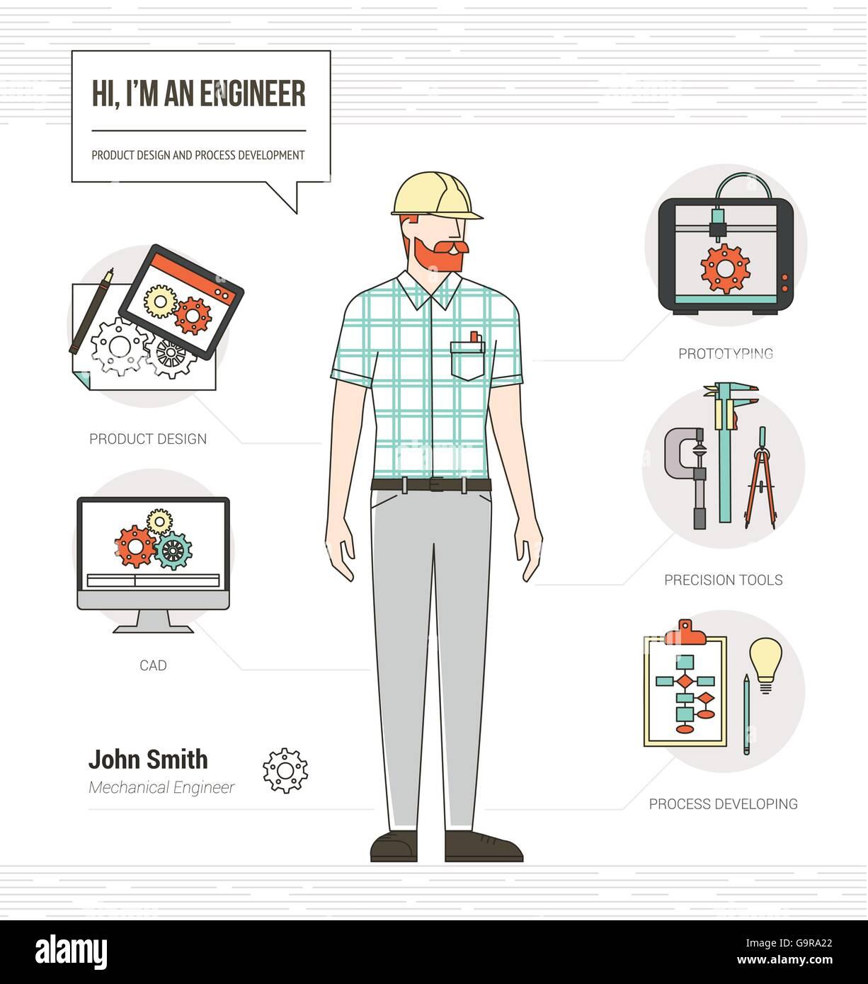 Professioneller Maschinenbau-Ingenieur Infografik Fähigkeiten ...