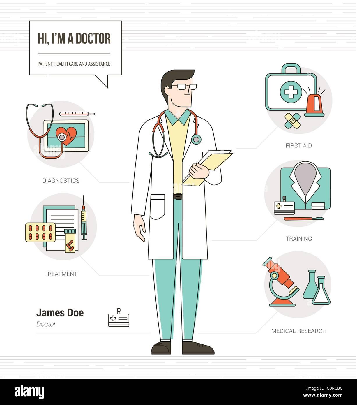Professionelle Arzt Infografik Fähigkeiten Lebenslauf Mit Werkzeugen