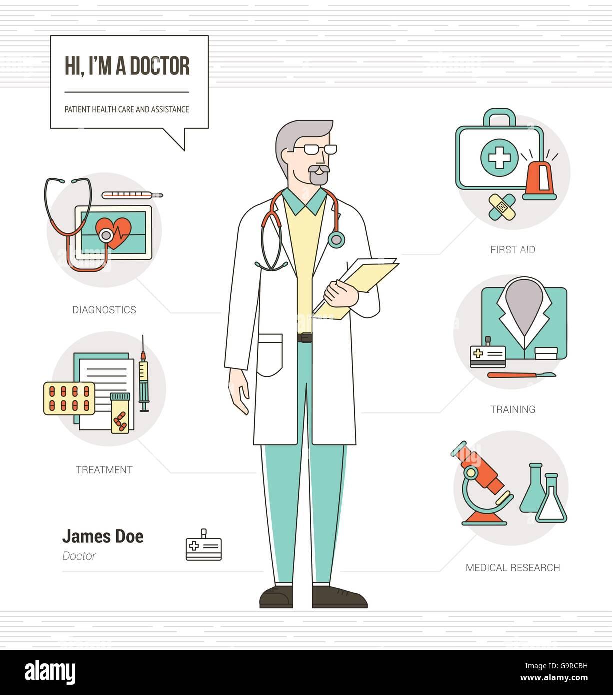 Professionelle Arzt Infografik Fahigkeiten Lebenslauf Mit Werkzeugen