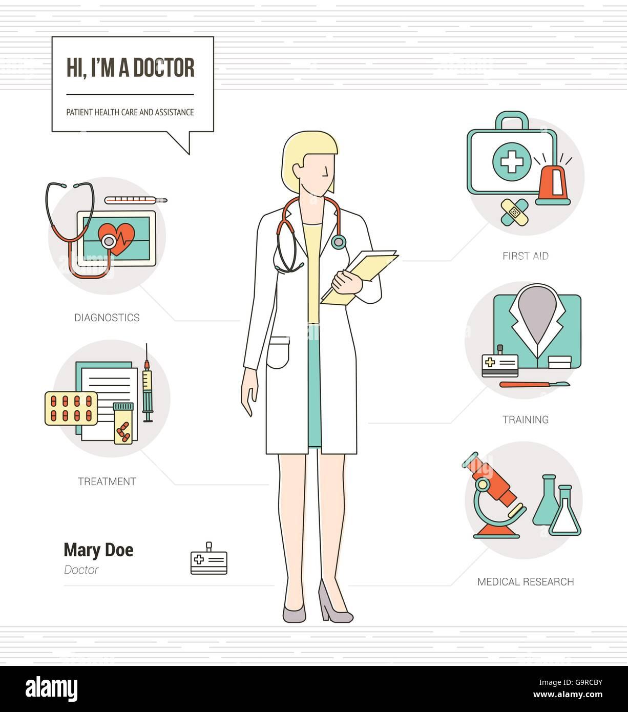 professionelle rztin infografik fhigkeiten lebenslauf mit werkzeugen medizinische gerte und icons set - Fahigkeiten Lebenslauf