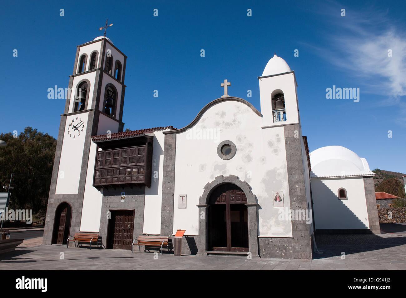 Kirche, Santiago del Teide, Teneriffa, Teneriffa, Kanarische Inseln, Spanien, Europa Stockbild