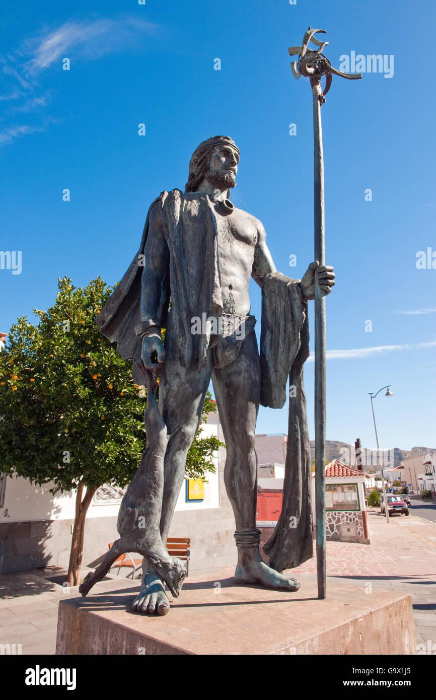 Statue der Guanchen Krieger, Bronce, Santiago del Teide, Teneriffa, Teneriffa, Kanarische Inseln, Spanien, Europa Stockbild