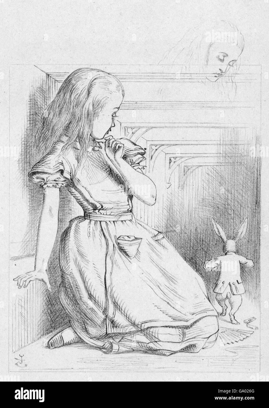 """Alice im Wunderland. """"Die Kaninchen huschte"""", eine Illustration von Sir John Tenniel für Carrolls Stockbild"""