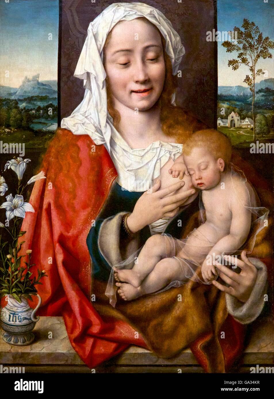 Jungfrau und Kind, Gemälde von Joos van Cleve, ca. 1525, Fitzwilliam Museum, Cambridge, England, UK, GB Stockbild