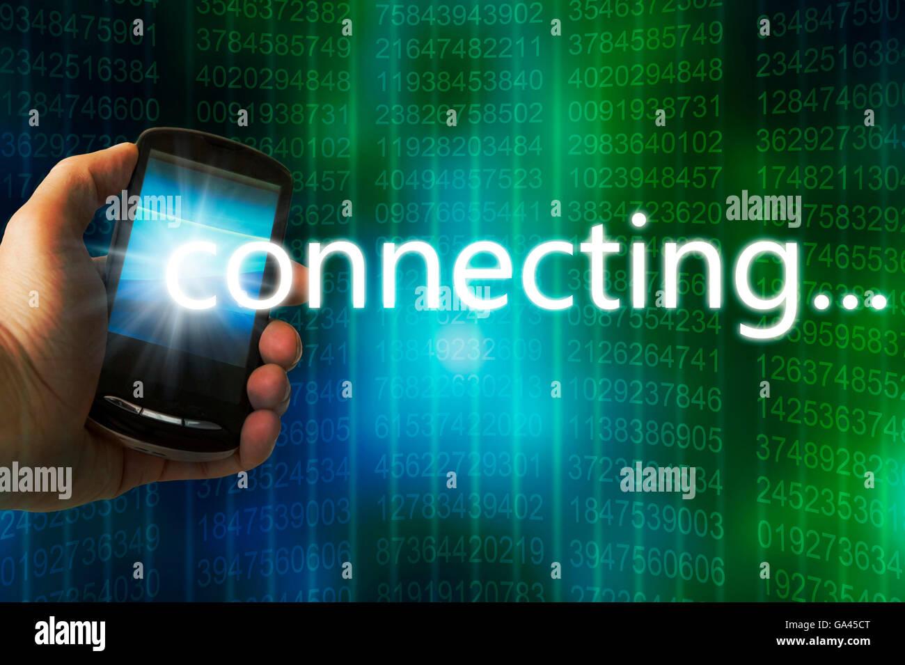 Hand hält ein Handy mit einem Drahtlosnetzwerk verbinden Stockbild