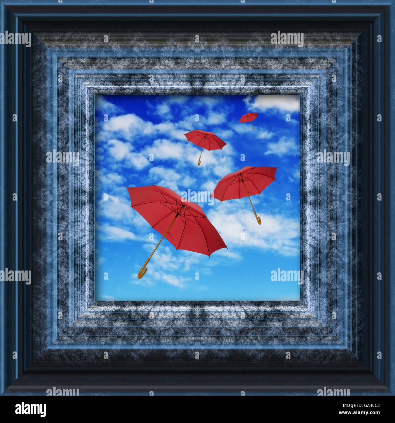 rote Schirme fliegen in den Himmel in einen digitalen Bilderrahmen Stockbild