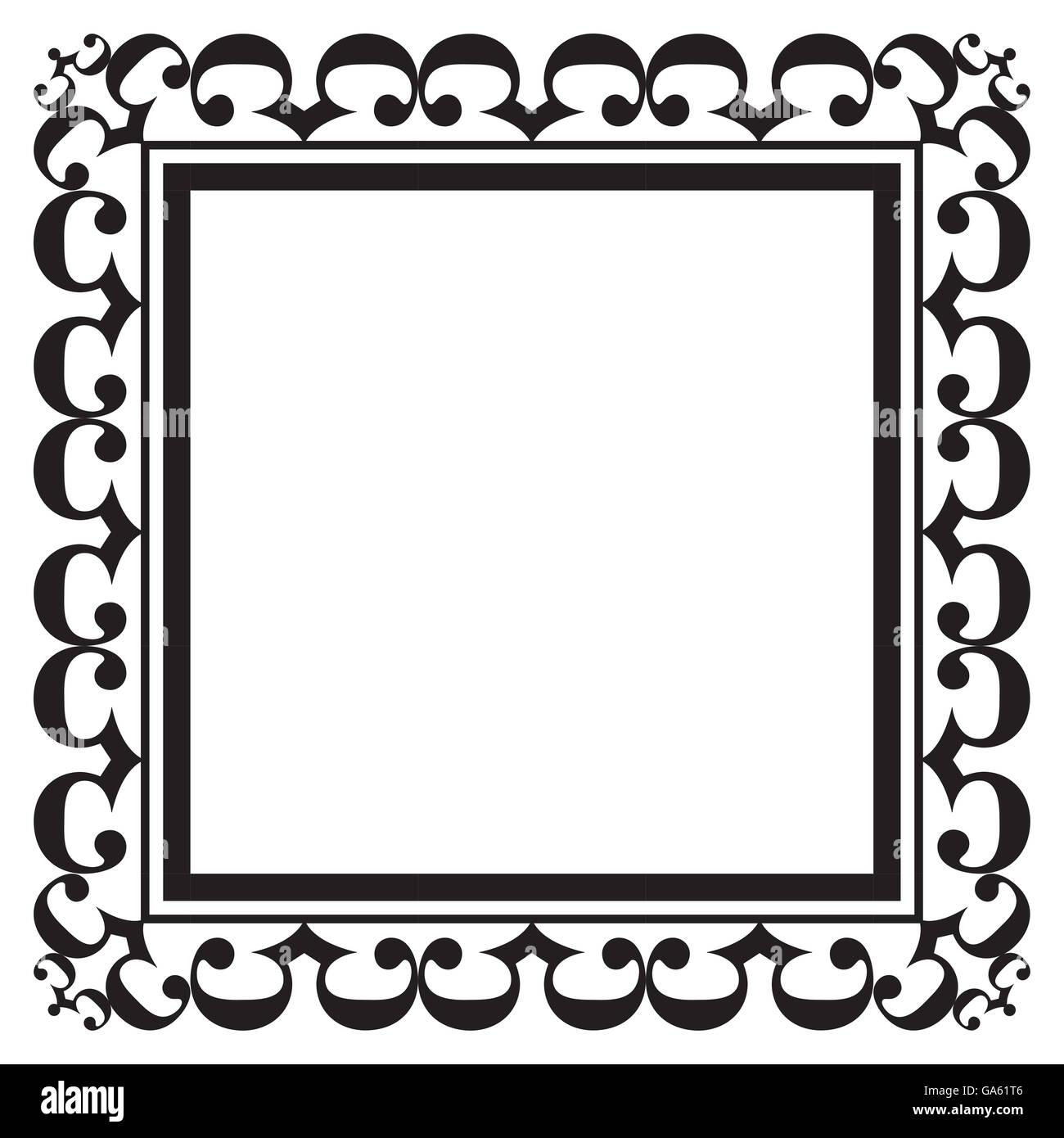 Schwarzen verzierten quadratischen leeren Rahmen für Bilder ...