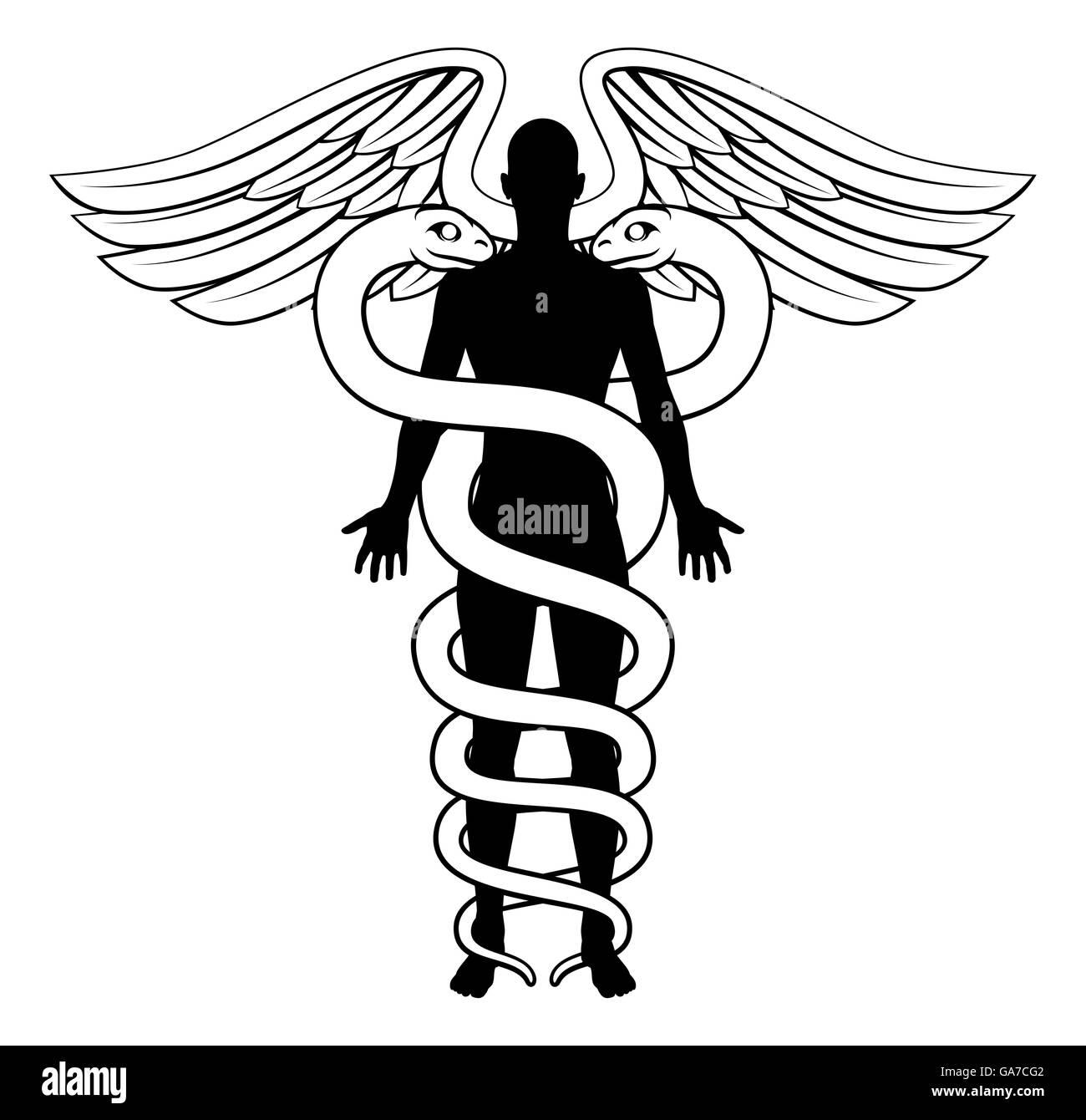 Eine schematische Darstellung der Hermesstab medizinischen Symbol ...