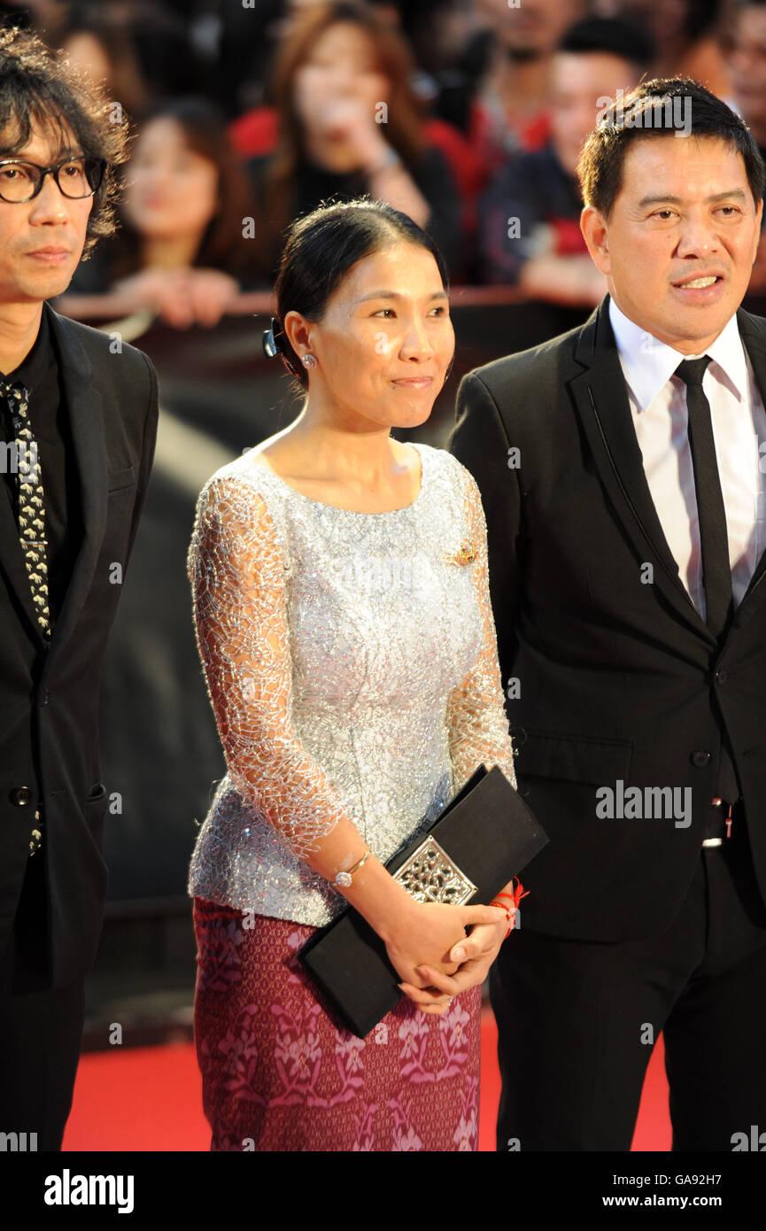 Kambodschanische Regisseur Sotho Kulikar auf dem 28. Tokyo International Film Festival in Roppongi Hills am 22. Stockbild