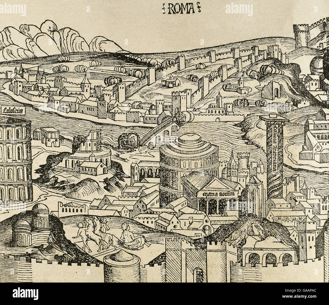 Italien. Rom. Die Stadt im 16. Jahrhundert. Gravur. Stockbild