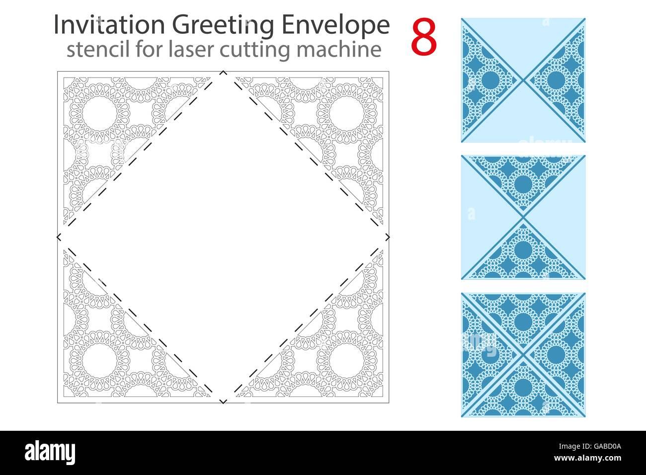 Briefumschlag Vorlage Für Laser Cut Vektor Abbildung Bild