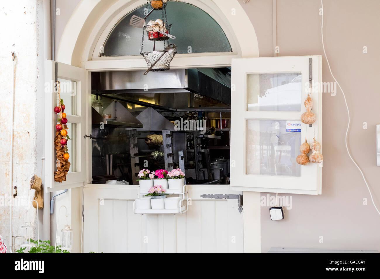 Öffnen Sie Fenster, Restaurant Küche Fenster, innen- und ...