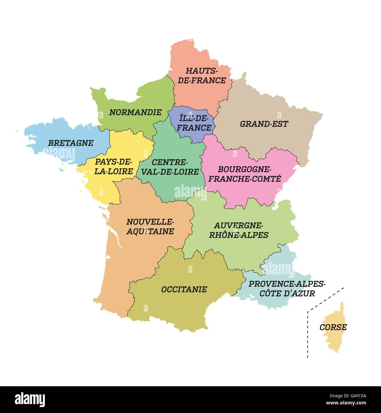 Frankreich Karte Regionen.Metropolitan Frankreich Karte Mit Neuen Regionen Vektor Abbildung