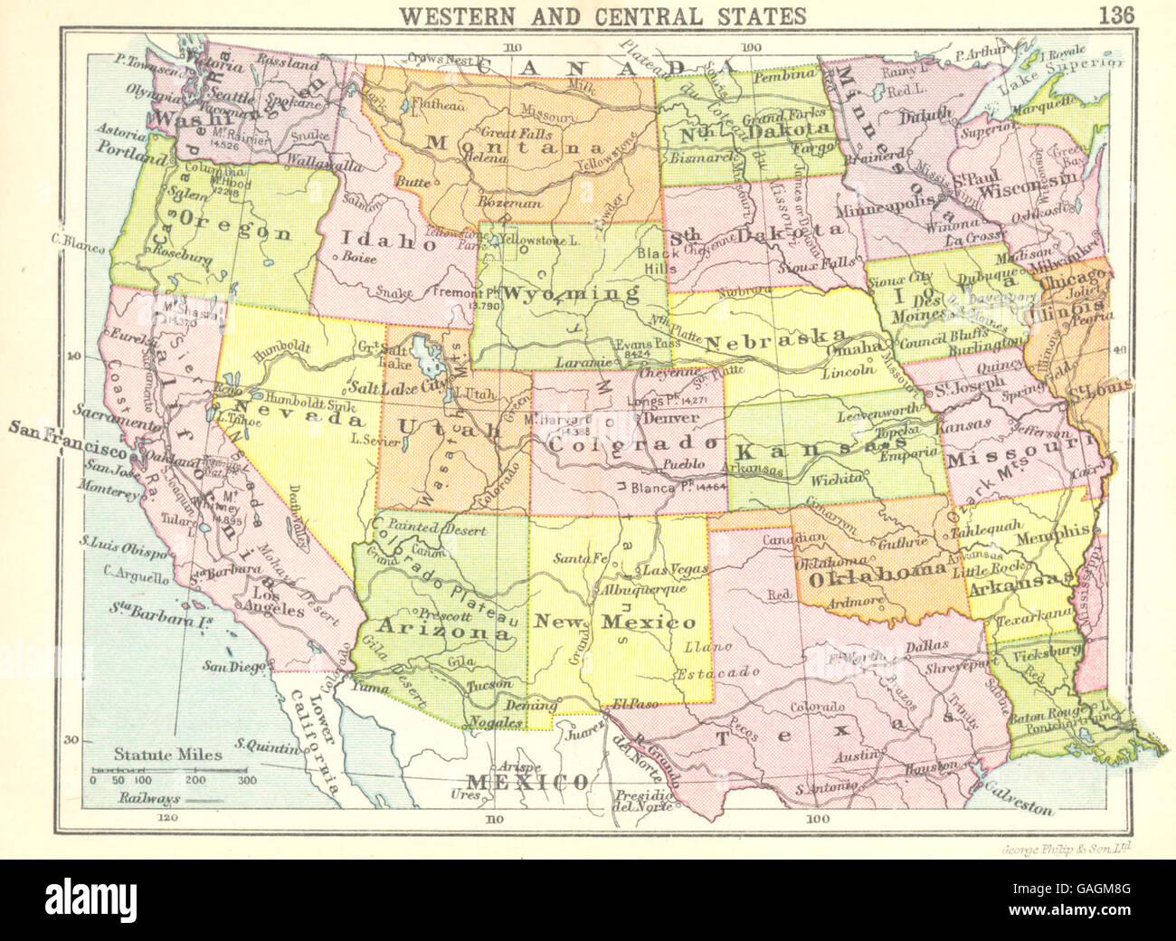 USA: Western und Central States; Kleine Karte, 1912 Stockfoto, Bild on