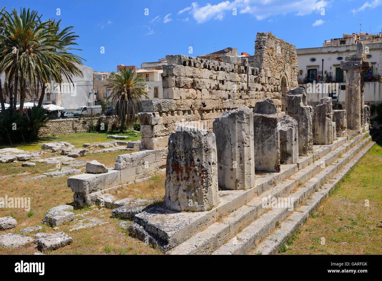 Tempel des Apollo in Ortygia, Syrakus, Sizilien, Italien Stockbild