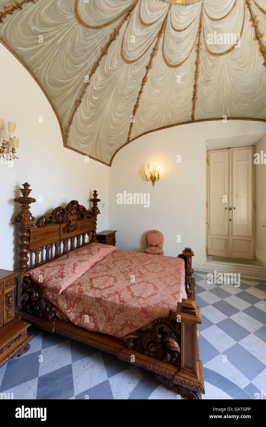 Rom. Italien. Villa Torlonia, Schlafzimmer von der Casino Nobile ...