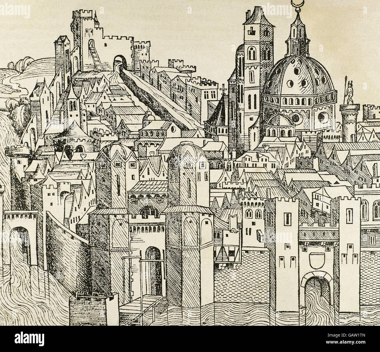 Italien. Padua Stadt im 16. Jahrhundert. Gravur. Stockbild