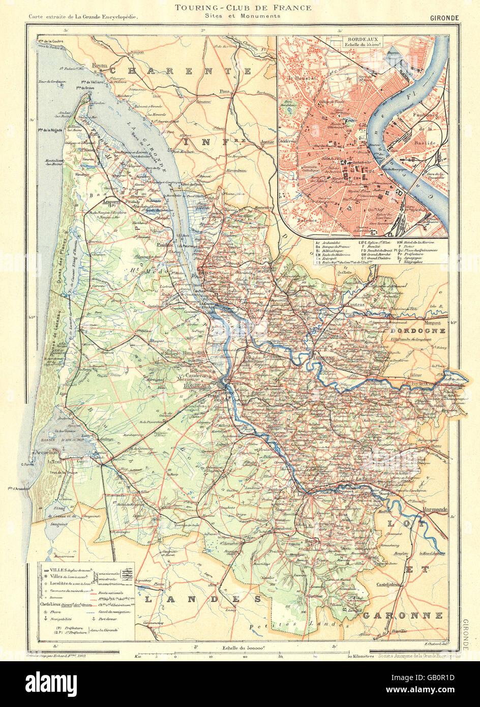Gironde Departement Inset Stadt Karte Stadtplan Von Bordeaux
