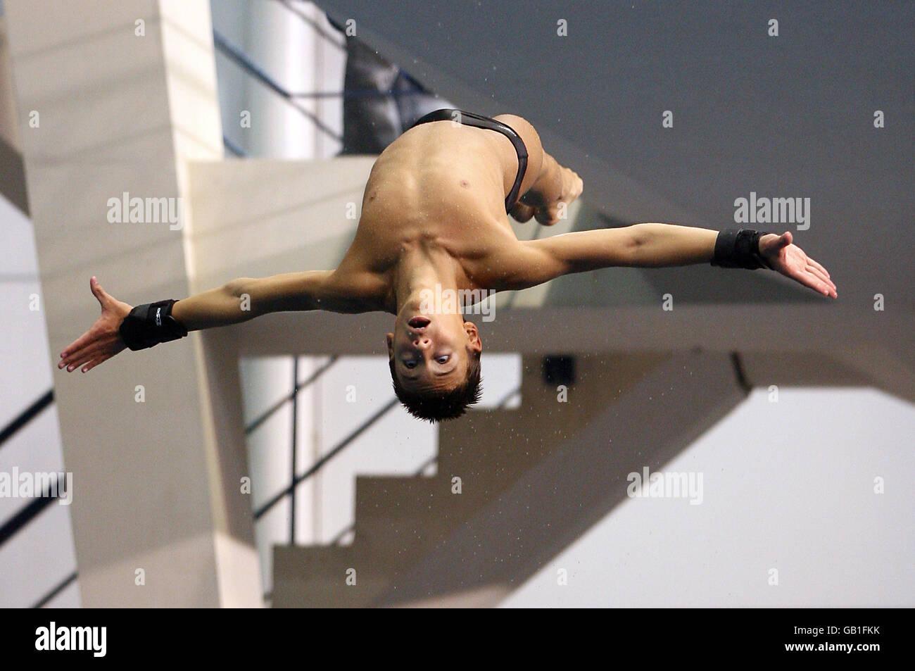 Großbritannien Tom Daley während eines olympischen Diving Media Day in Pond's Forge, Sheffield. Stockfoto
